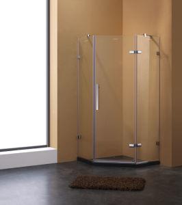 Bisagras de forma diamantada Abra recinto de ducha con cristal claro y accesorios de cromo
