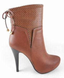 2015 Chaussures femmes Lady Bootie de mode de démarrage avec embrasse fermeture à glissière latérale plate-forme de bandage de couleur marron mélangée à deux pièces de matériel supérieur