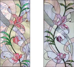 Vitrail panneaux avec motif de l'Art