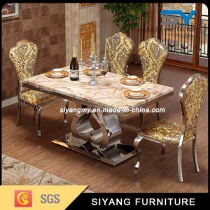 Conjunto de jantar móveis mesa de mármore preto mesa de jantar com 6 cadeira