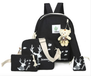 Fashion toile noire Elk imprimé sac à dos Sac pour un ensemble