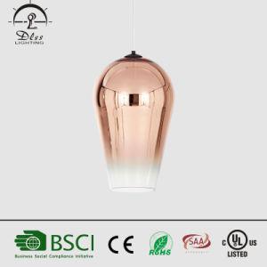Poupança de energia simples popular formato de vidro acende a lâmpada pendente de cobre