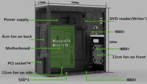 Caso o tipo de espelho de jogos de computador Red ATX de desktop de Refrigeração