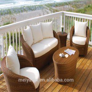 Pátio exterior sofá de vime Sofá transversal de vime Mobiliário de Jardim Definido