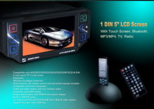 1 DIN 접촉 스크린, Bluetooth를 가진 5 인치 차 DVD 플레이어