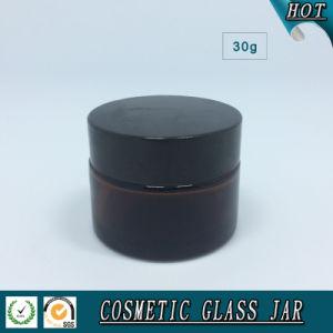 アルミニウムふたが付いている30mlこはく色の化粧品のガラスクリーム色の瓶
