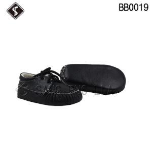 Parte superior de cuero negro de mejor calidad de los bebés y los zapatos niño zapatos Bebé