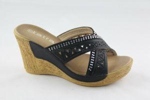 Diamond filtre en coin imprimé Chaussures femmes Lady Slipper Flip Flop