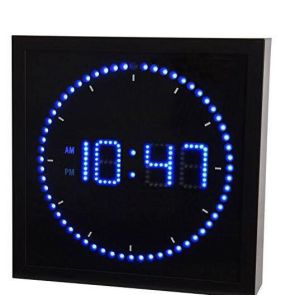 Square Digital LED Reloj de pared. El marco de metal con el material de vidrio