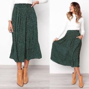 Puntos blancos estampados florales Ostar plisada mujer elástico cintura alta bolsillos laterales bordea el verano de 2019 elegante fondo femenino falda