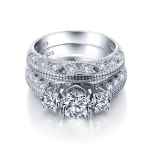 우아한 결혼 반지 AAA 입방 지르코니아 925 은 형식 보석
