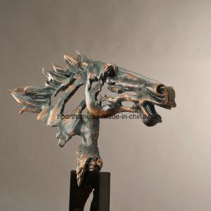 Imité finition bronze sculpté à la main Tête de cheval creux buste Statue de figurine