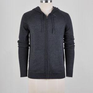 Mistura de lã Zip Suéter Blusa com capuz para cima para homens