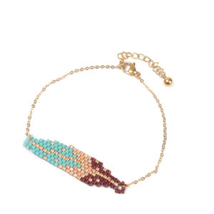 Form-Zubehör-importiertes Raupe-Hand-Woven Blatt-Muster-Kristall-Armband