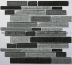 잉크 제트 도와 밝은 회색 선형 혼합 유리 모자이크를 보는 직물