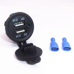 Resistente al agua DC 12-24V 4.2A USB Cargador adaptador de alimentación dual con luz indicadora LED para Alquiler de Barco Marino moto