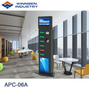 Fußboden, der 6 Digital-Schließfach-Telefon-aufladeneinheit APC-06A mit grossem bekanntmachendem LCD-Bildschirm steht