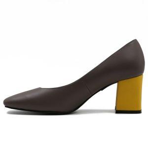 Calfskin moderno de cuero de mujer zapatos de tacón