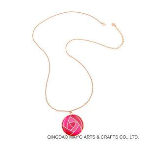 La moda de Womens joyas chapado en oro rosa rosa roja Colgante Collar de flores