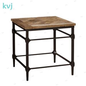 Kvj Industrial-7367 Estrutura de aço móveis de madeira Square Mesa lateral