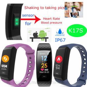 Braccialetto variopinto di forma fisica dello schermo con la frequenza cardiaca & la pressione sanguigna K17s
