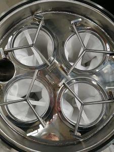 オリーブ油フィルター機械および価格のための足車フィルター