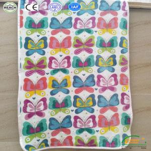 カスタム蝶フランネルの羊毛ファブリック赤ん坊の綿の柔らかい毛布