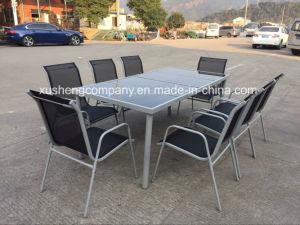Muebles de acero de 9PC Juegos de mesa y silla de comedor