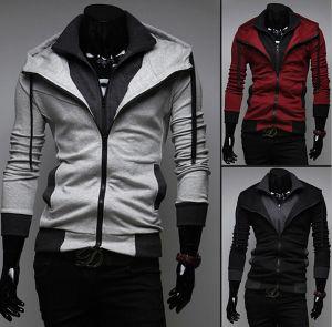 Fashion conçu les hommes de l'hiver le phoque à capuchon Zip Sweater (14318)