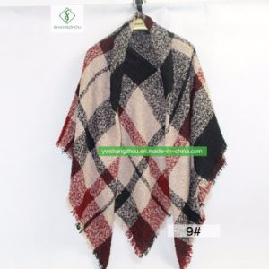 Hot vender España dama moda Bufanda de la plaza de cachemir con mantón Plaid