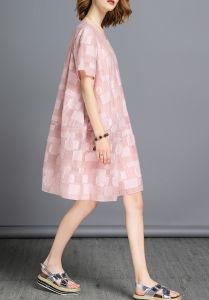 L'Été de couleur rose Jacquard Fashion femmes robe de balle surdimensionnée