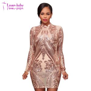 Mode Femmes Aurora or rose robe High-Neck Nude Illusion