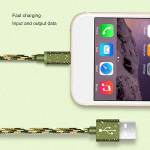 Cavo di dati poco costoso del USB di verde del camuffamento per il iPhone