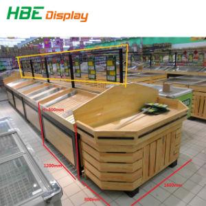 Doppeltes versah Supermarkt-Wasser-Beweis-hölzernes Gemüsebildschirmanzeige-Regal mit Seiten