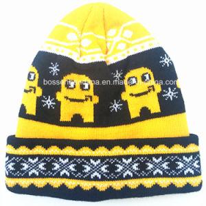黒い編まれた帽子の製造業者を競争させるOEMによってカスタマイズされるロゴのジャカードアクリル
