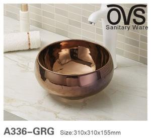 Brown-Farben-Bassin-runde Wäsche-Bassin-Badezimmer-Eitelkeit
