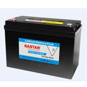 Pilha recarregável 2000 vezes 12V 100Ah Bateria de lítio para o Solar do Sistema de armazenamento de dados