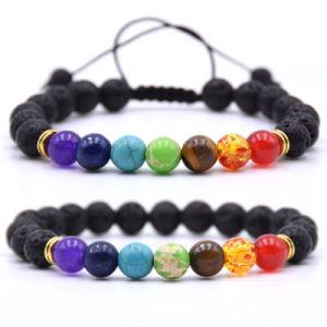 regalo de promoción mayorista de accesorios de moda colorida Vesuvianite Pulsera de perlas piedras naturales
