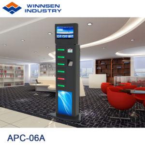 Fußboden, der groß steht, LCD-Bildschirm-Telefon-aufladenkiosk APC-06A mit 6 Digital-Schließfächern bekanntmachend