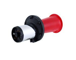 赤い角のかたつむりの角モーター自動車のスピーカー