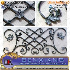 El cerco y paneles de puerta de hierro forjado.