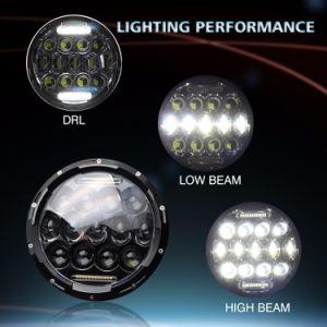 75W 7inch HeadlampangelはDRLのハロー12Vのオートバイのジープ円形LED車のヘッドライト7inchを注目する