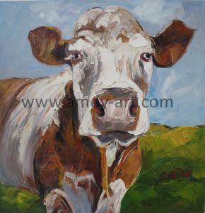 ホーム装飾のための手塗りの黙した牛キャンバスの油絵