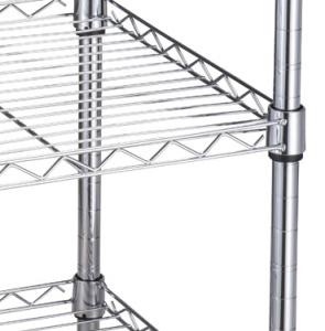 5 niveaux commerciaux sur le fil d'étagères en métal chromé sur le fil d'étagère de rack