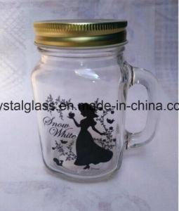カスタム印刷のハンドルおよび帽子が付いているガラス石大工ジュースの瓶