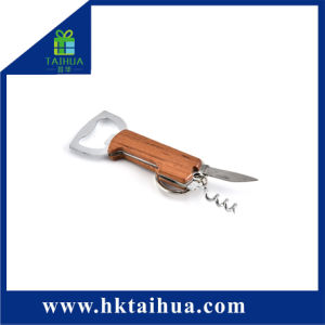昇進のギフトのナイフが付いている木のワイン・ボトルのKeychainの金属のオープナ
