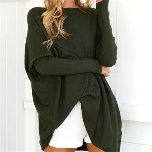 La camisa suelta flojos Sweather camisetas de algodón tejido sólido Blusa túnica mujer