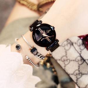 La banda de sólidos de acero inoxidable oro rosa reloj dama