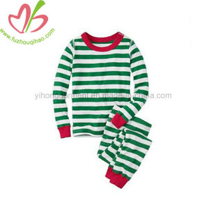 Van Katoenen van 100% de Kleren Kerstmis van de Baby Geplaatst de Lange Nachtkleding van de Streep van de Overall van de Koker voor Kinderen
