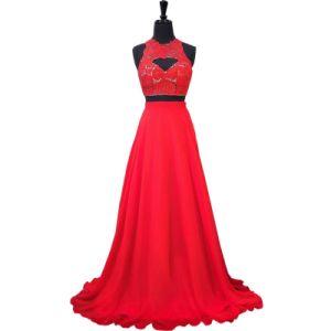 黒く赤いレース党プロムは袖なしの背部が開いた新婦付添人のイブニング・ドレスE2017にガウンを着せる